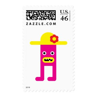 Pink lady, yellow hat stamp