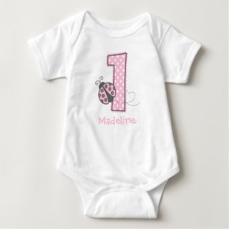 Pink Ladybug 1st Birthday Baby Bodysuit