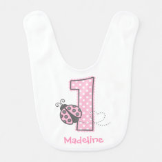 Pink Ladybug 1st Birthday Bibs