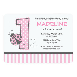 "Pink Ladybug 1st Birthday 5"" X 7"" Invitation Card"