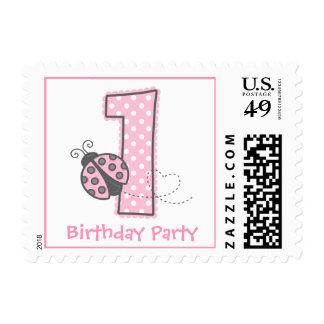 Pink Ladybug 1st Birthday Postage