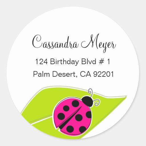 Pink Ladybug Address Labels Stickers