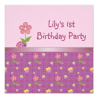Pink Ladybug and Cupcake Birthday Party Personalized Announcement