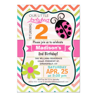 """Pink Ladybug and Flower Girly Birthday Party 5"""" X 7"""" Invitation Card"""