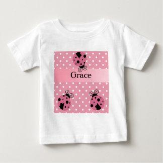 Pink Ladybug and Polka Dots Baby T-Shirt