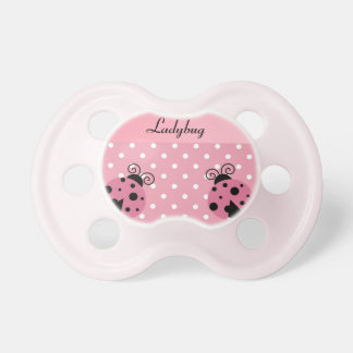 Pink Ladybug and Polka Dots Pacifier