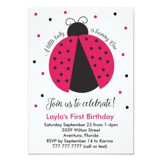 Pink Ladybug Baby Girl's First Birthday Card
