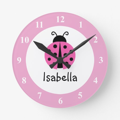 Pink ladybug baby name nursery wall clock