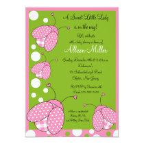 "Pink Ladybug Baby Shower 5"" X 7"" Invitation Card"