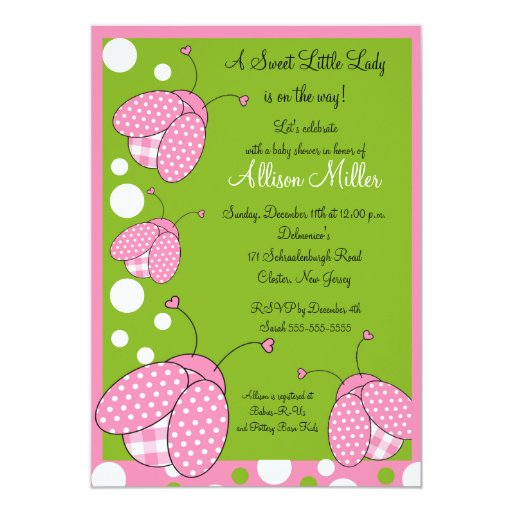 Pink Ladybug Baby Shower 5x7 Paper Invitation Card