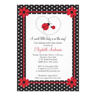 Pink Ladybug Baby Shower 5x7 Paper Invitation Card