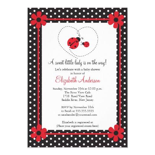 pink ladybug baby shower 5x7 paper invitation card zazzle