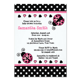 Pink Ladybug Baby Shower Black & White Polka Dots Card