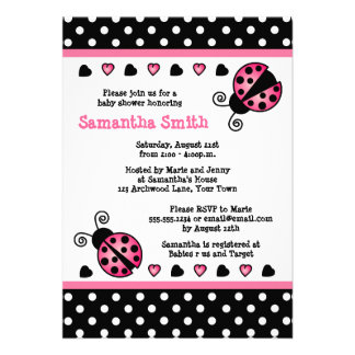 Pink Ladybug Baby Shower Black & White Polka Dots Personalized Announcement