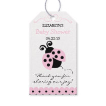 Pink Ladybug Baby Shower Guest Favor- Thank You Gift Tags