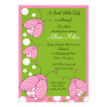 Pink Ladybug Baby Shower Personalized Announcements