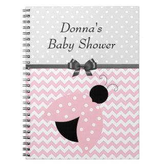 Pink Ladybug Baby Shower Notebook