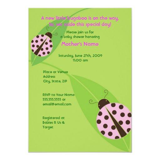pink ladybug baby shower or birthday invitation zazzle