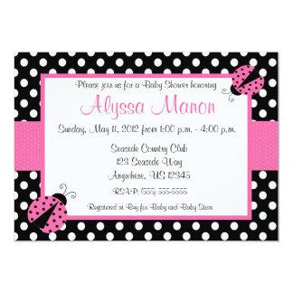 Pink Ladybug Baby Shower or Birthday Invitation