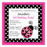 Pink Ladybug Birthday - Black and White Polka Dots Custom Invitation