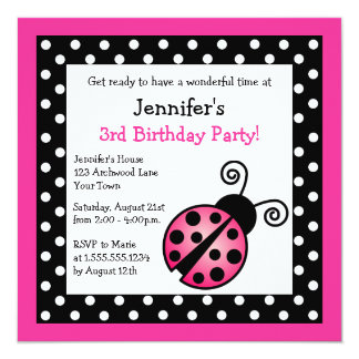 "Pink Ladybug Birthday - Black and White Polka Dots 5.25"" Square Invitation Card"