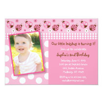 Pink Ladybug Birthday Invitations