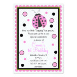 Pink Ladybug Birthday Invitations