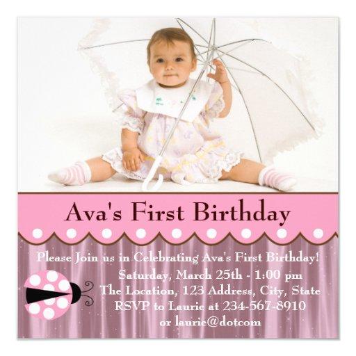 Pink Ladybug Birthday Party Card