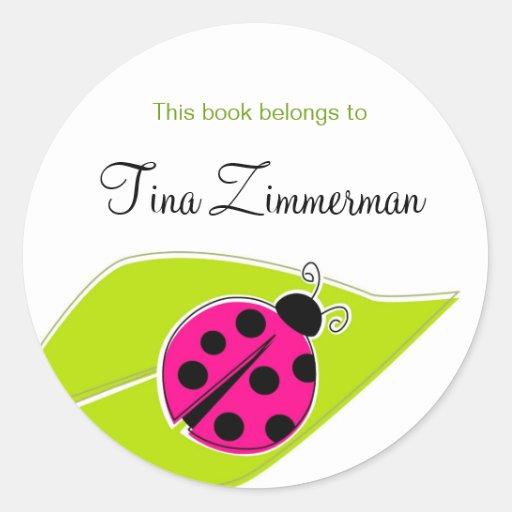 Pink Ladybug Bookplate Labels Sticker