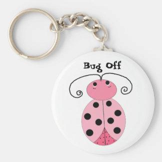 Pink Ladybug - Bug Off Basic Round Button Keychain