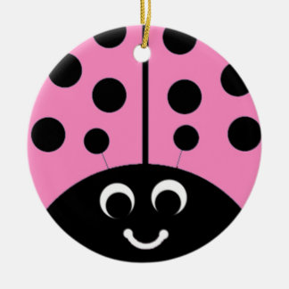 pink ladybug ceramic ornament