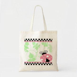 Pink Ladybug, Checkered Border & Polka Dots Tote Bag