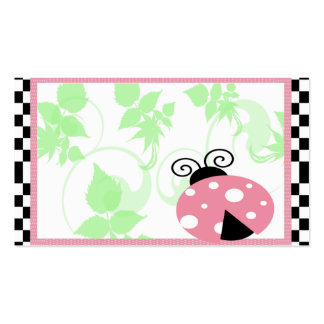 Pink Ladybug, Checkered Border & Polka Dots Double-Sided Standard Business Cards (Pack Of 100)