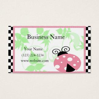 Pink Ladybug, Checkered Border & Polka Dots Business Card