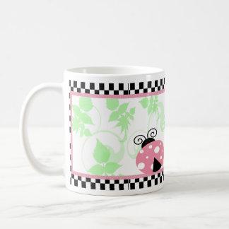 Pink Ladybug, Checkered Border & Polka Dots Coffee Mug