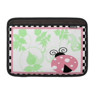 Pink Ladybug, Checkered Border & Polka Dots MacBook Sleeve