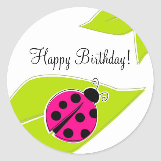 Pink Ladybug Cupcake Toppers Classic Round Sticker