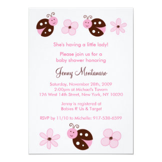 pink and brown ladybug baby shower invitations announcements