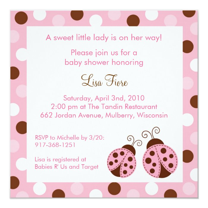 Pink Ladybug Dots Baby Shower Invitations