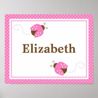 Pink Ladybug Dots Personalized Name Wall Art