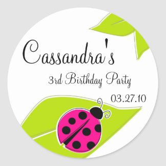Pink Ladybug Favor Tags Classic Round Sticker