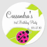 Pink Ladybug Favor Tags Stickers