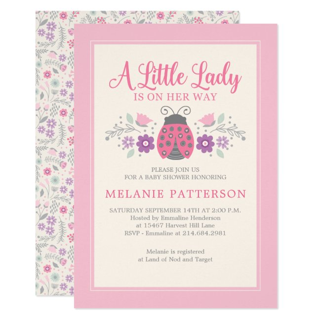 Pink Ladybug Floral Girl Baby Shower Invitation