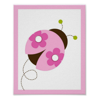 Pink Ladybug Flower Nursery Wall Art Print