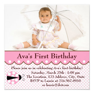 Pink Ladybug Girls Photo 1st Birthday Party Card