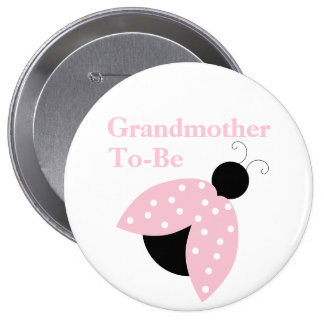 Pink Ladybug Grandma To Be Baby Shower Button