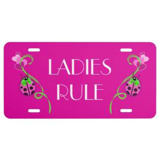 Pink Ladybug Green Ribbon License Plate