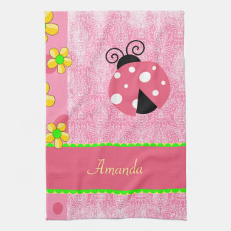 Pink Ladybug Hand Towel