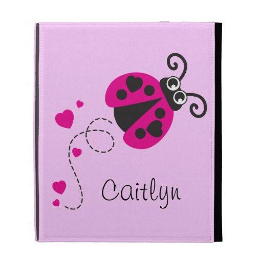 Pink ladybug hearts kids name ipad folio case