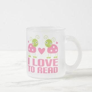 Pink Ladybug I Love To Read Gift Frosted Glass Coffee Mug